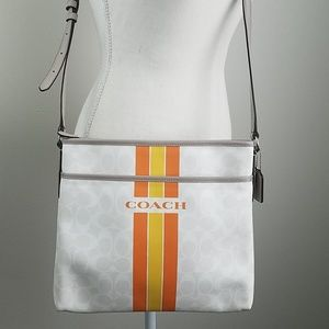 Coach Varsity Stripe File Bag in Wht/Orange/Yellow